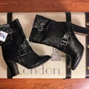 Adam Tucker 8 black leather moto buckle boots